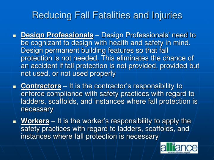 Reducing Fall Fatalities and Injuries