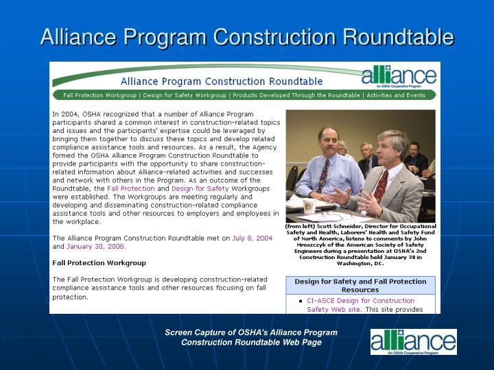 Alliance Program Construction Roundtable