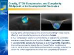 gravity stem compression and complexity all appear to be developmental processes