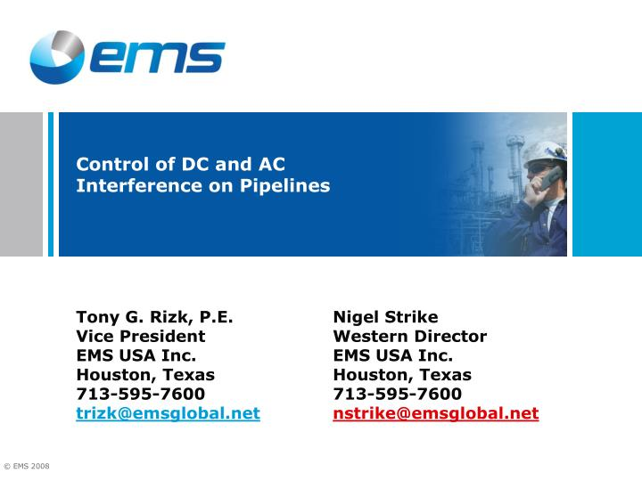 control of dc and ac interference on pipelines n.