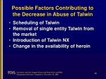 possible factors contributing to the decrease in abuse of talwin