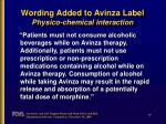 wording added to avinza label physico chemical interaction