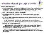 structural analysis per dept of comm