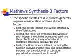 mathews synthesis 3 factors