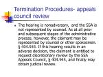 termination procedures appeals council review