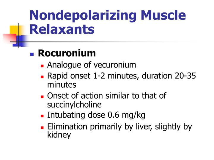 Nondepolarizing Muscle Relaxants