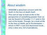 about wisdom