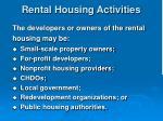 rental housing activities