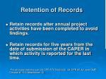 retention of records