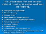 the consolidated plan aids decision makers in creating strategies to address the following