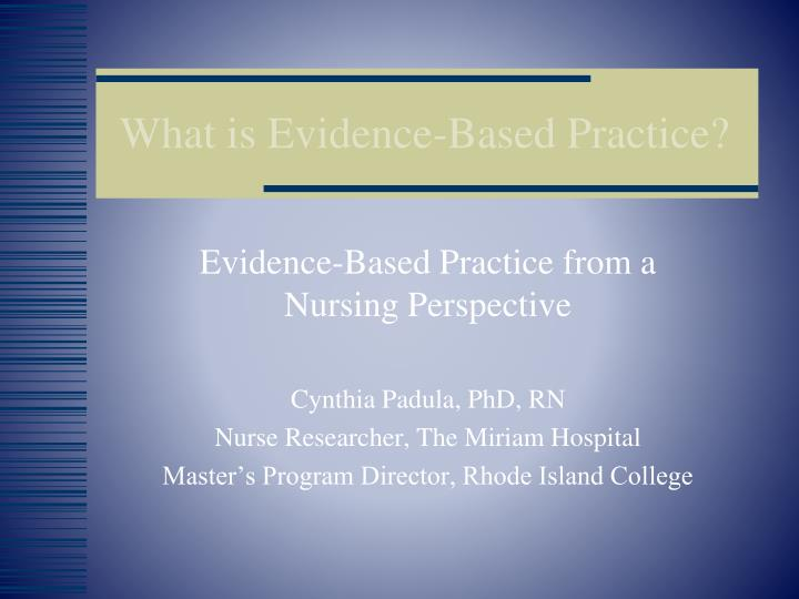 what is evidence based practice n.
