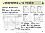 constraining grb models