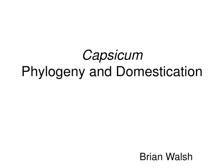 capsicum phylogeny and domestication n.