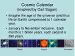cosmic calendar inspired by carl sagan