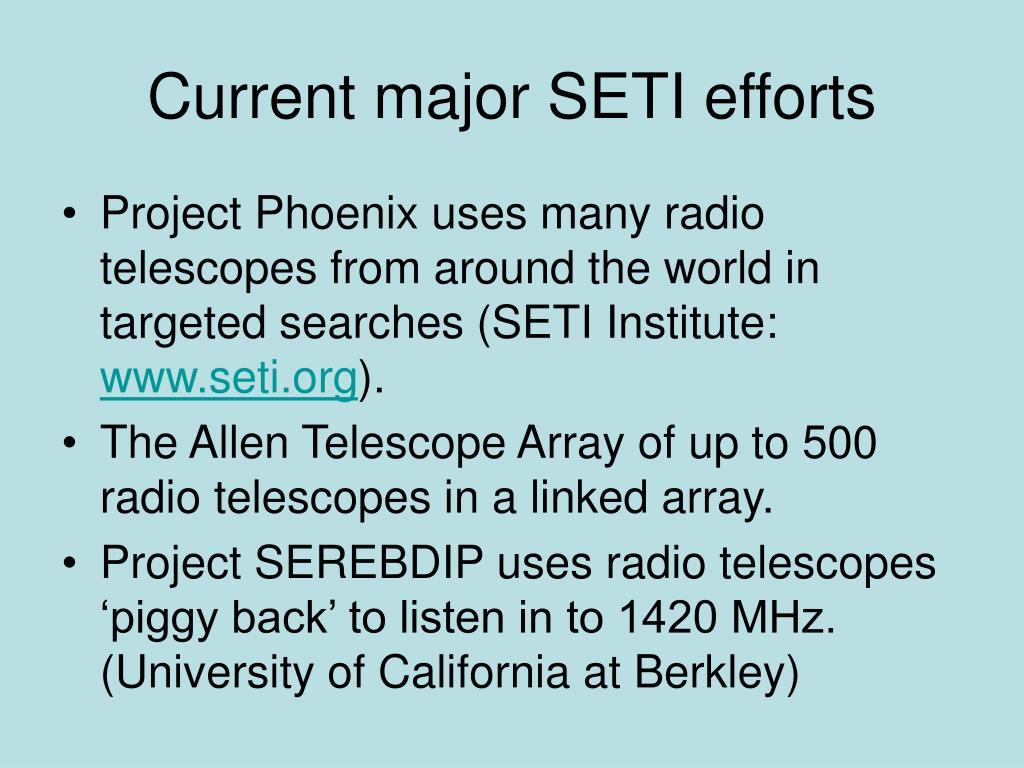 Current major SETI efforts