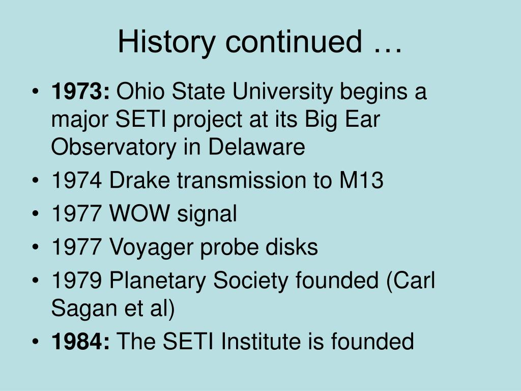 History continued …