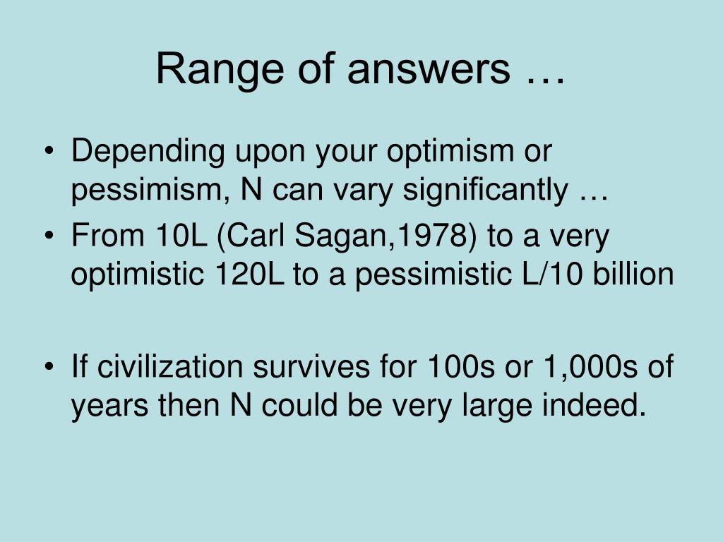Range of answers …
