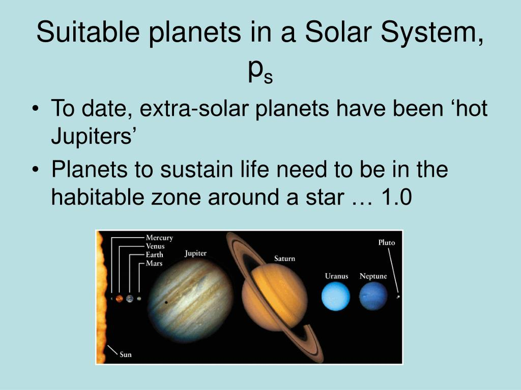 Suitable planets in a Solar System, p