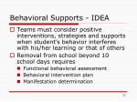 behavioral supports idea