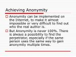 achieving anonymity