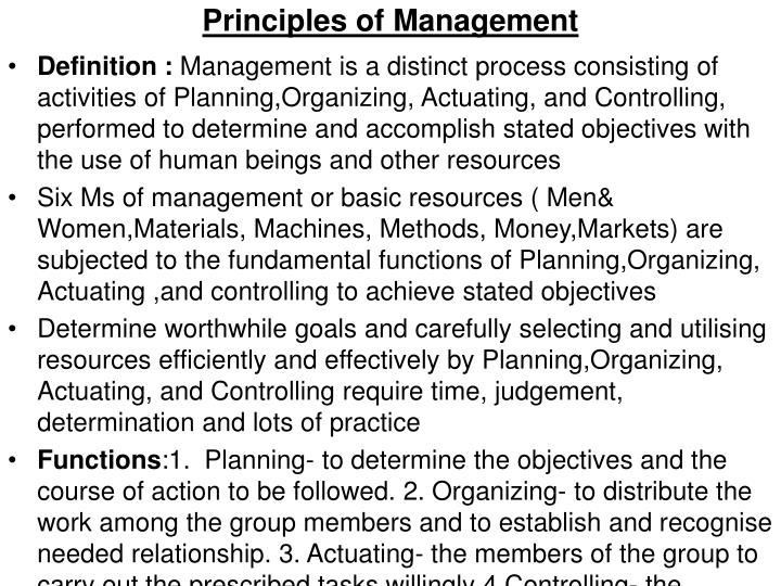principles of management n.
