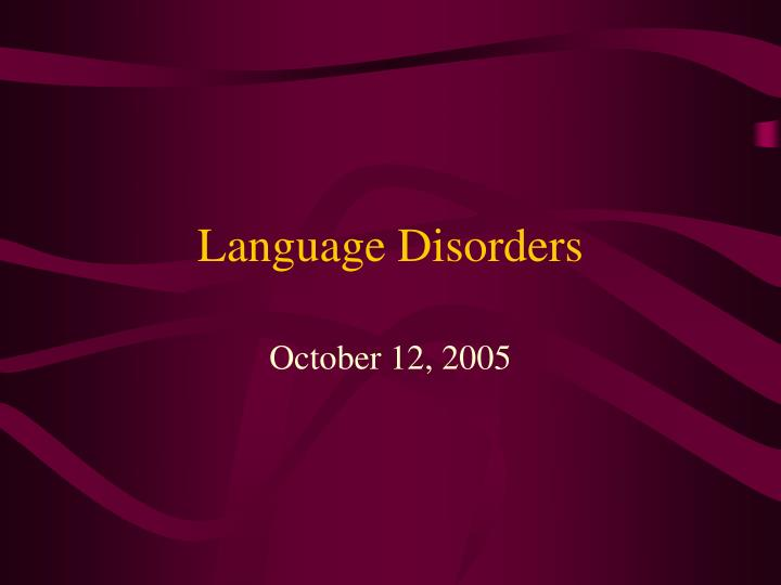 language disorders n.