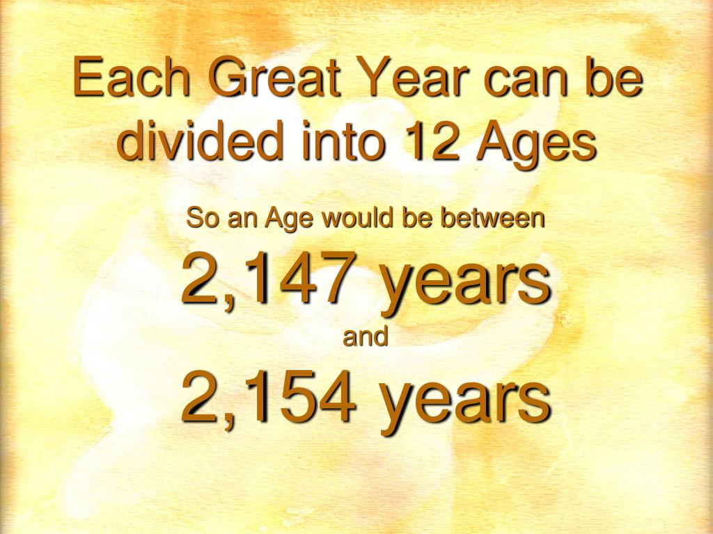 Each Great Year can be divided into 12 Ages
