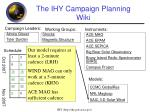 the ihy campaign planning wiki