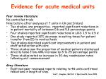 evidence for acute medical units