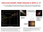 obscured seyferts radio galaxies qsos vs z