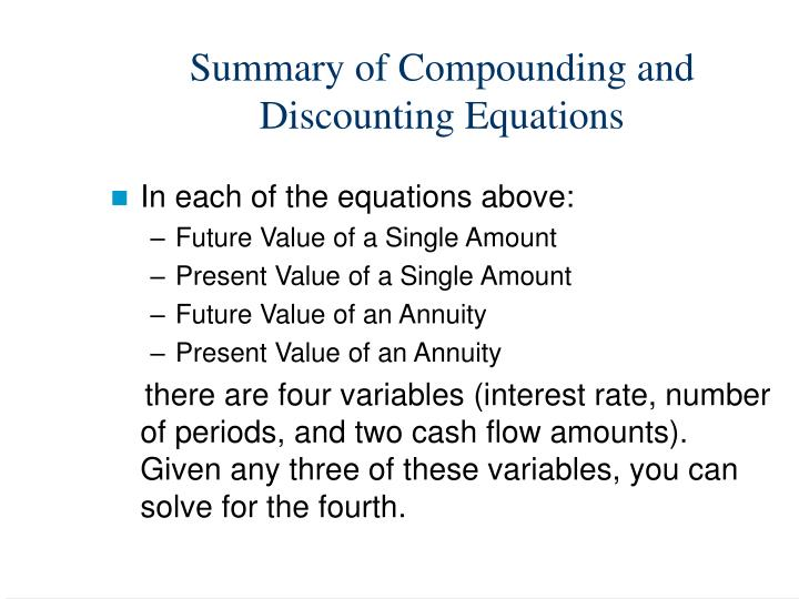 Summary of Compounding and
