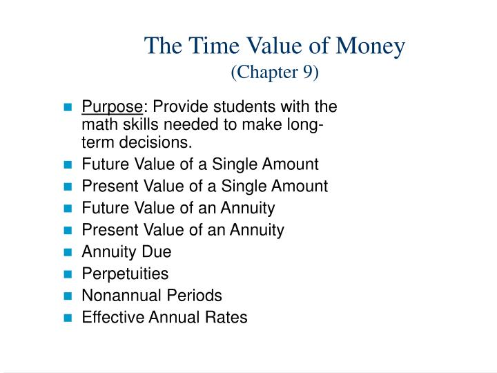 The time value of money chapter 9