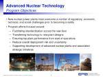 advanced nuclear technology program objectives