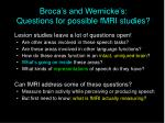 broca s and wernicke s questions for possible fmri studies