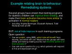 example relating brain to behaviour remediating dyslexia