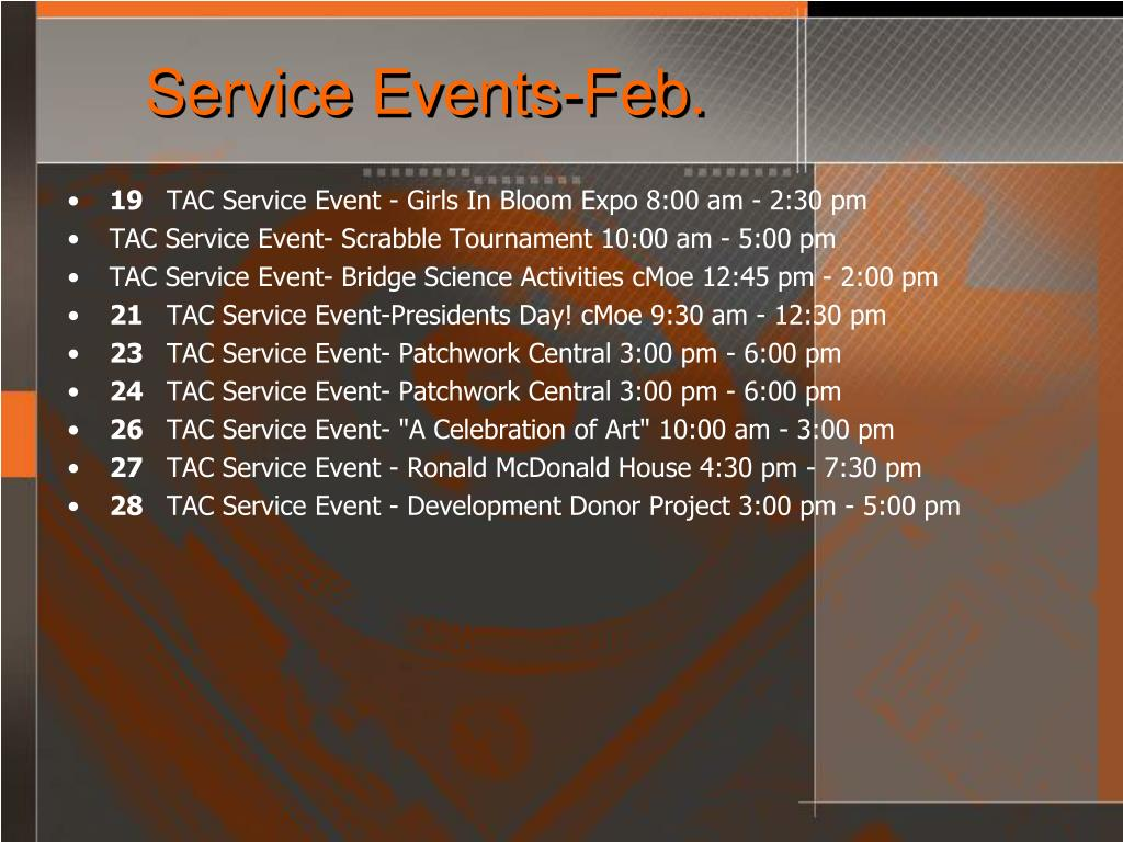 Service Events-Feb.
