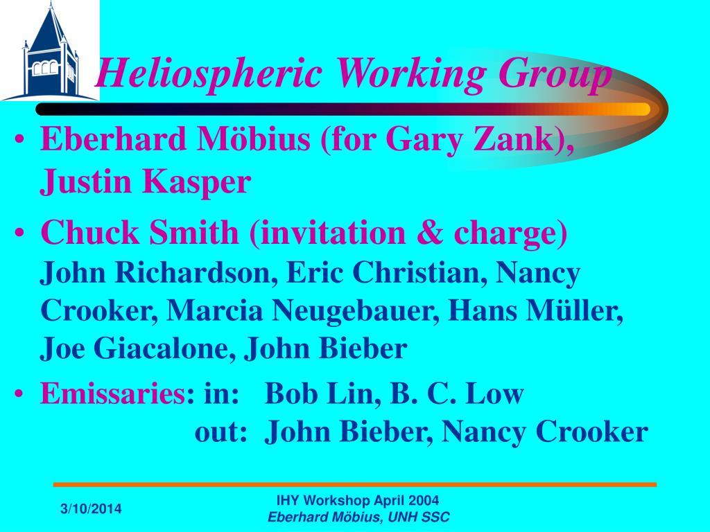 Heliospheric Working Group