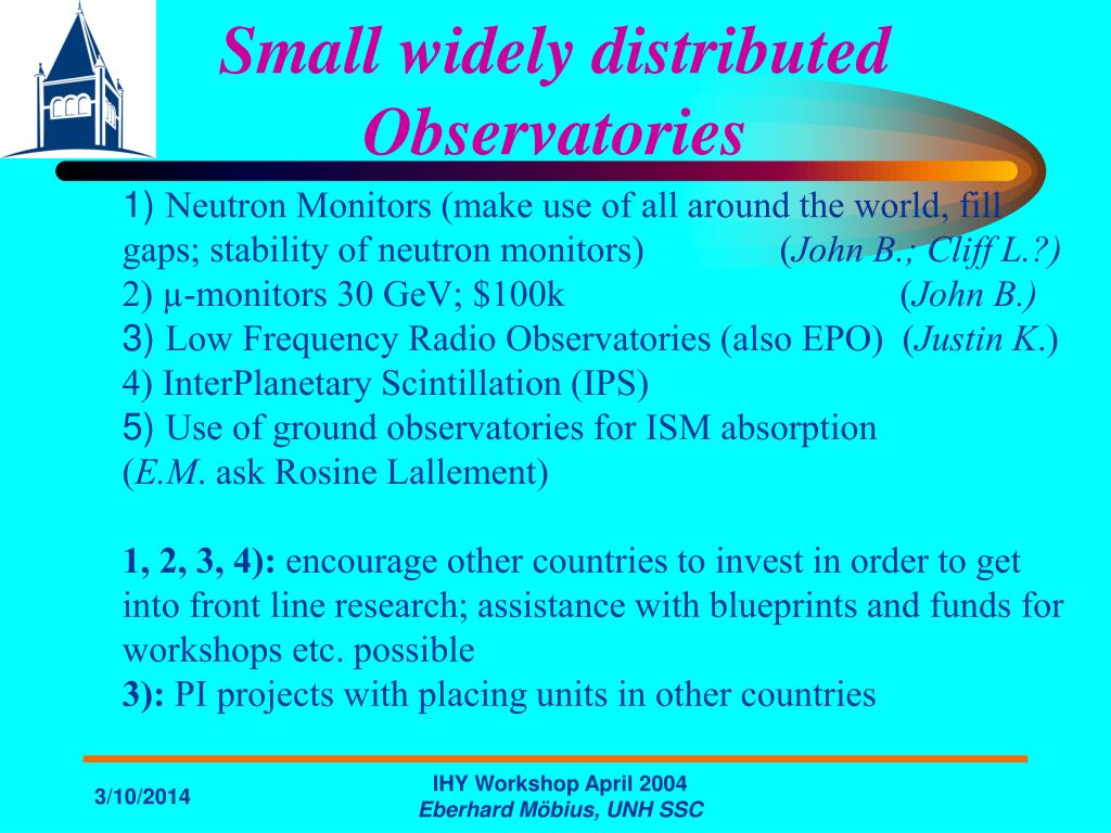 Small widely distributed Observatories