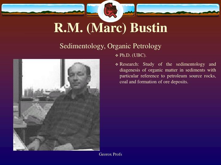 R m marc bustin sedimentology organic petrology
