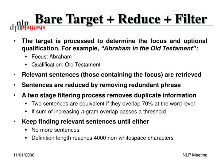 Bare Target + Reduce + Filter