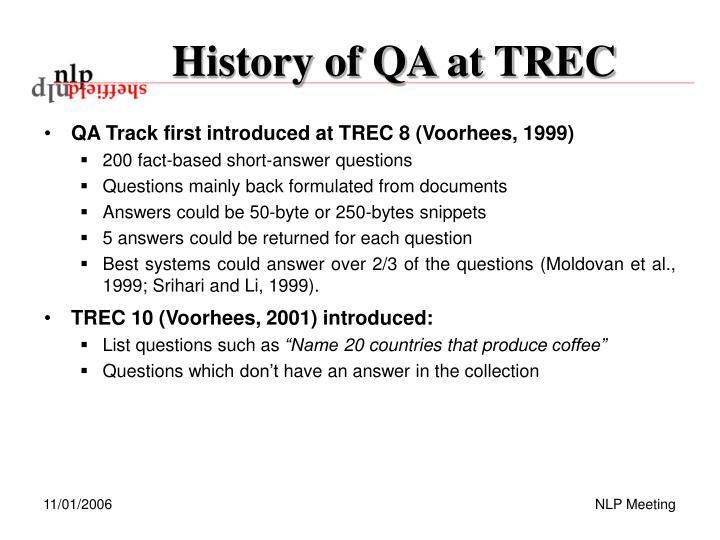 History of qa at trec
