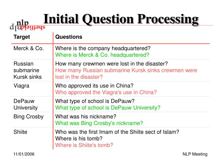 Initial Question Processing