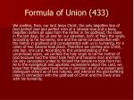 formula of union 433