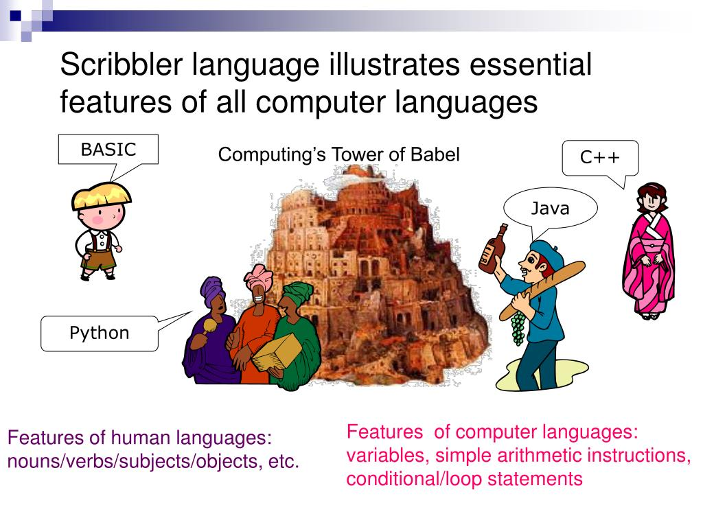 Scribbler language illustrates essential features of all computer languages