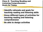 class 8 teaching reading and listening comprehension goals for today