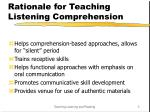 rationale for teaching listening comprehension