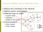 clusters in mobile ad hoc networks cont