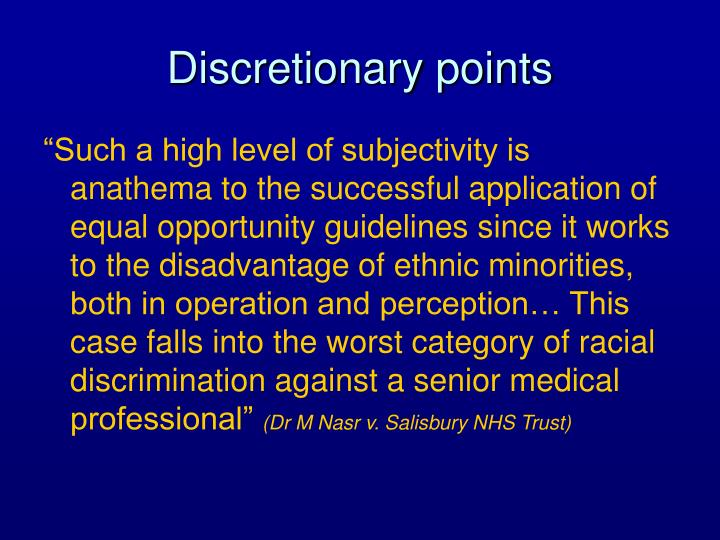 Discretionary points