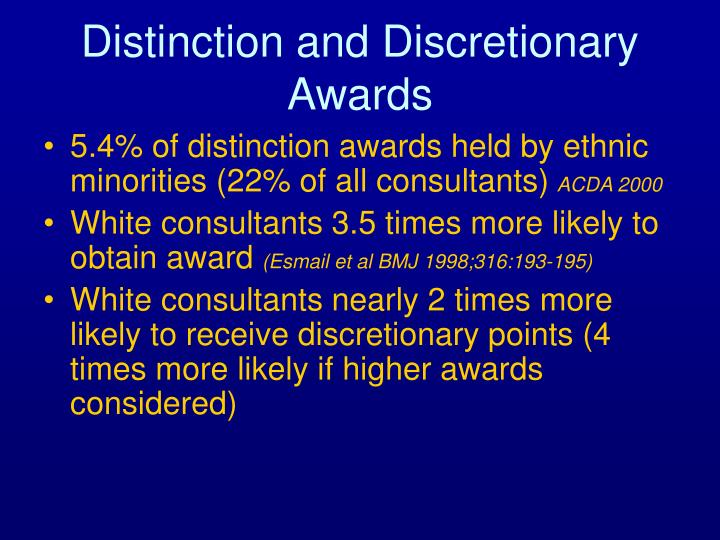 Distinction and Discretionary Awards