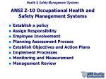 ansi z 10 occupational health and safety management systems